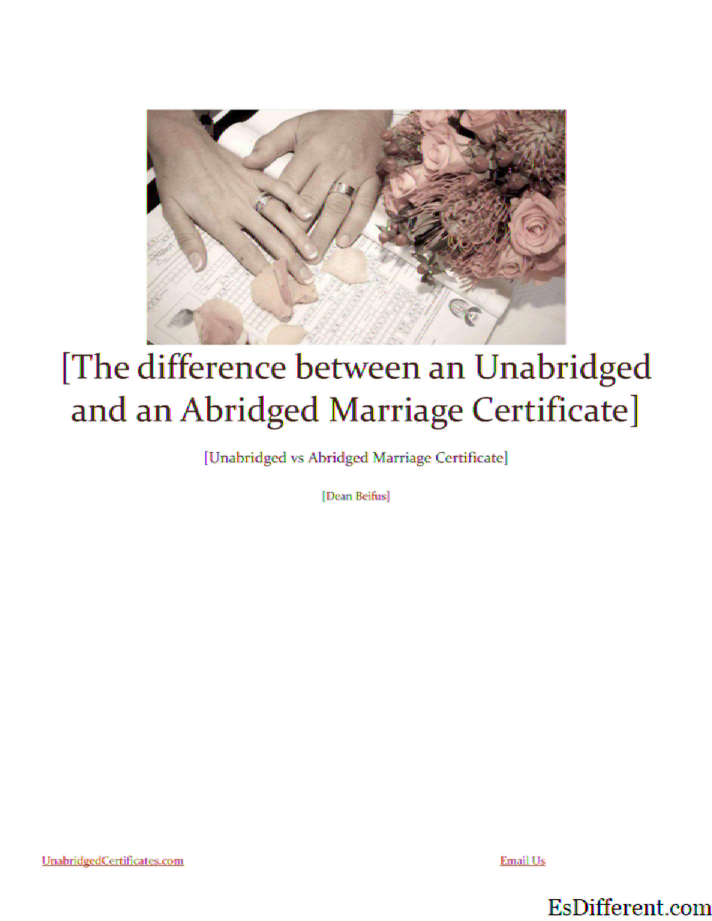 Abridged and Unabridged Certificate of Marriage